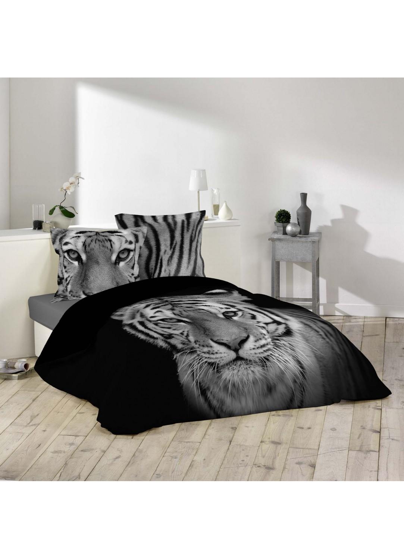 parure de lit imprim e tigre multicolors homemaison vente en ligne parures de lit. Black Bedroom Furniture Sets. Home Design Ideas