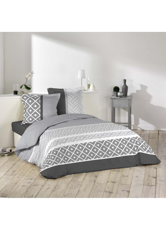 parure de lit imprim e g om trique multicolors homemaison vente en ligne parures de lit. Black Bedroom Furniture Sets. Home Design Ideas