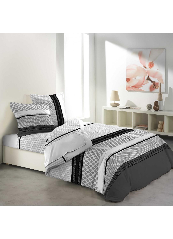 parure de draps imprim e rayures g om triques multicolors homemaison vente en ligne. Black Bedroom Furniture Sets. Home Design Ideas