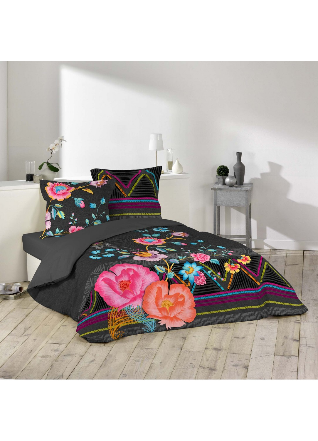 parure de lit imprim e boh me multicolors homemaison. Black Bedroom Furniture Sets. Home Design Ideas