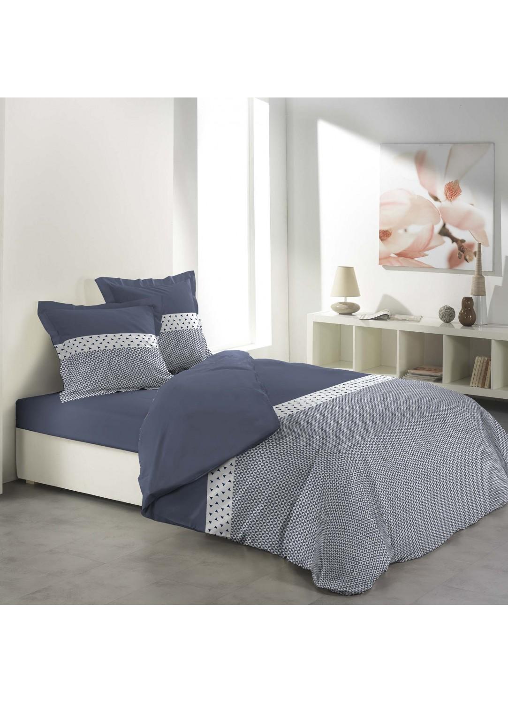 parure de lit imprim e rayure avec triangles bleu. Black Bedroom Furniture Sets. Home Design Ideas