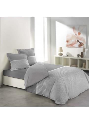 Parure de Lit Imprimée avec Fine Rayure Colorée - Gris/Blanc - 240 x 220 cm