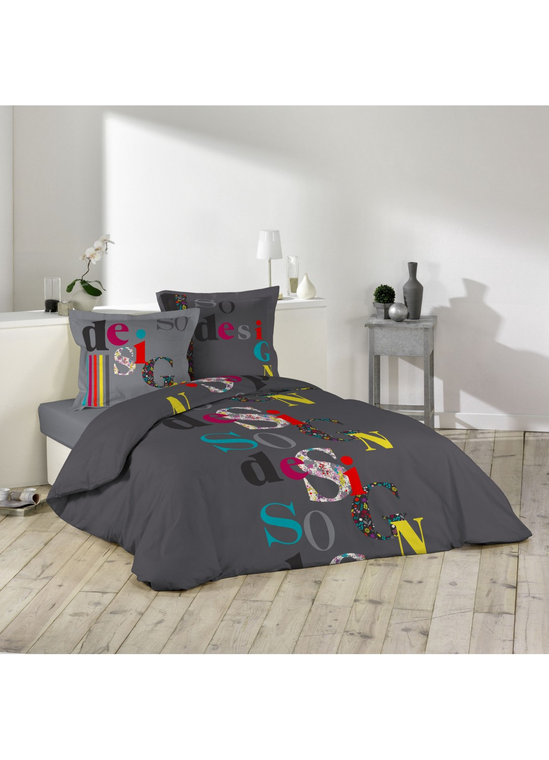 parure de lit imprim e so design multicolors. Black Bedroom Furniture Sets. Home Design Ideas