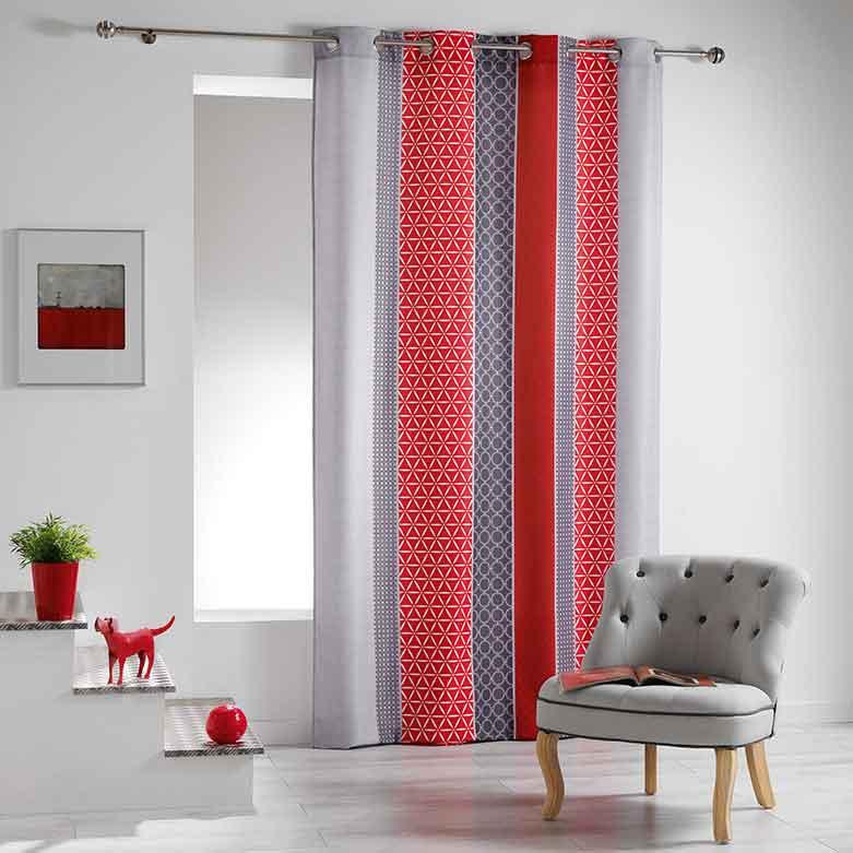 Rideau imprim graphique rouge bleu cuivre homemaison vente en ligne tous les rideaux for Rideau graphique