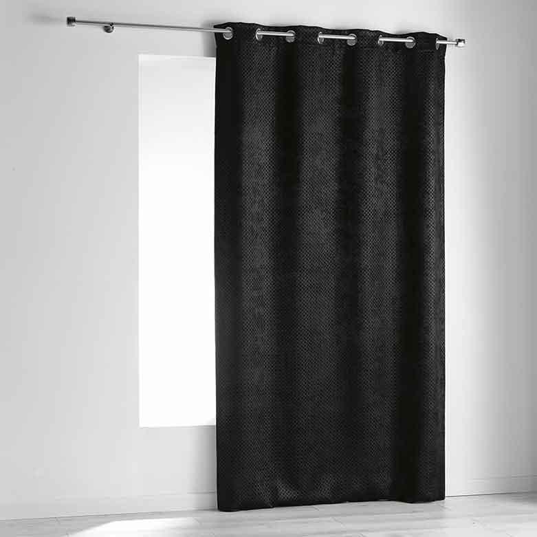 rideau occultant effet velours quadrill noir blanc gris anthracite homemaison. Black Bedroom Furniture Sets. Home Design Ideas