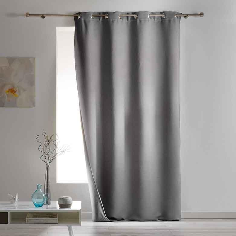 rideau occultant et isolant uni gris noir ivoire rouge taupe anthracite. Black Bedroom Furniture Sets. Home Design Ideas