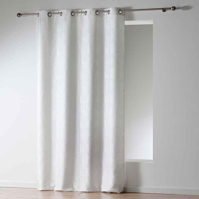 rideau avec motif g om trique tetris blanc noir gris anthracite homemaison. Black Bedroom Furniture Sets. Home Design Ideas
