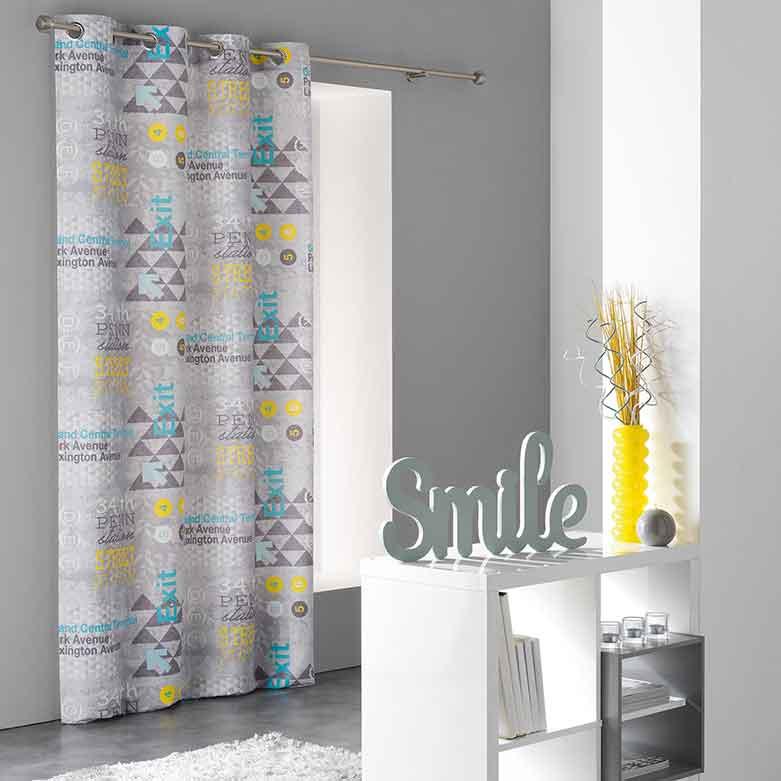 rideau en microfibre imprim urbain gris homemaison. Black Bedroom Furniture Sets. Home Design Ideas