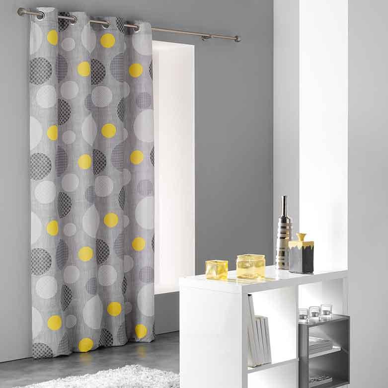 rideau en microfibre imprim pois jaune homemaison. Black Bedroom Furniture Sets. Home Design Ideas