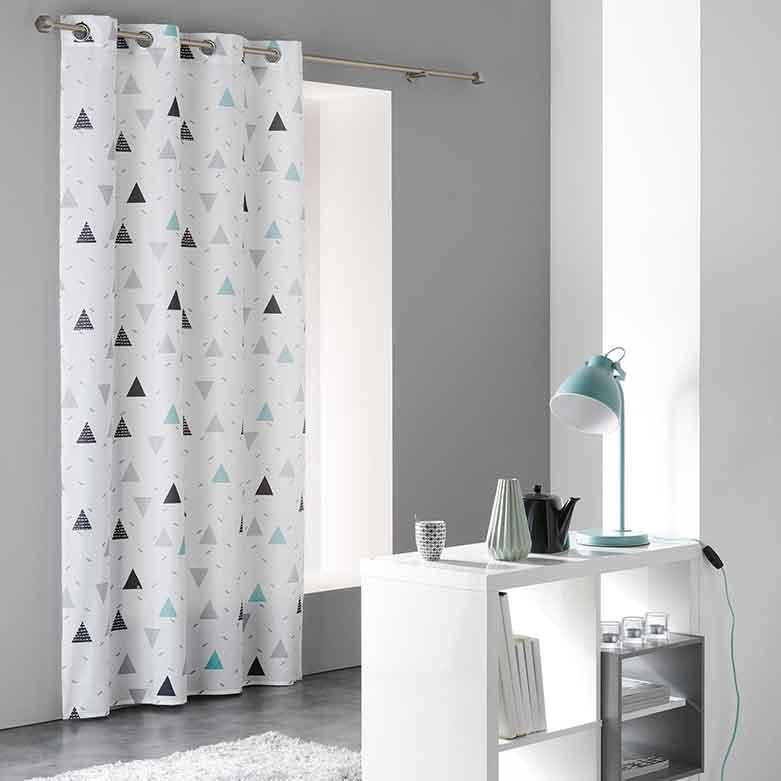 rideau en microfibre avec motif triangles blanc homemaison vente en ligne rideaux. Black Bedroom Furniture Sets. Home Design Ideas