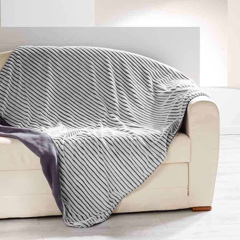 Plaid Douceur Rayé - Gris - 125 x 150 cm