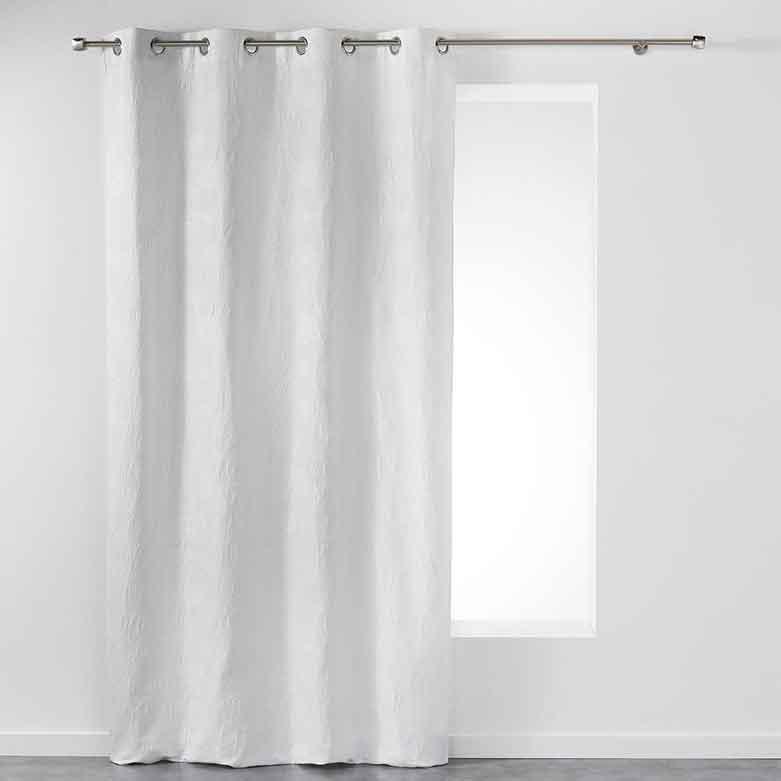 Rideau avec Motif Fleuri - Blanc - 140 x 260 cm
