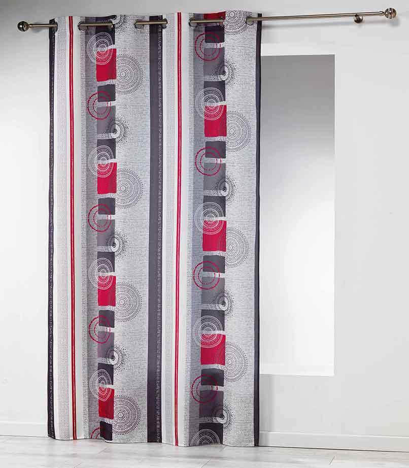 rideau imprim g om trique et rayures gris homemaison. Black Bedroom Furniture Sets. Home Design Ideas