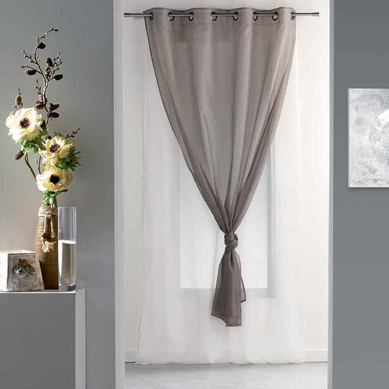 Voilage double voile blanc taupe homemaison vente for Double voilage