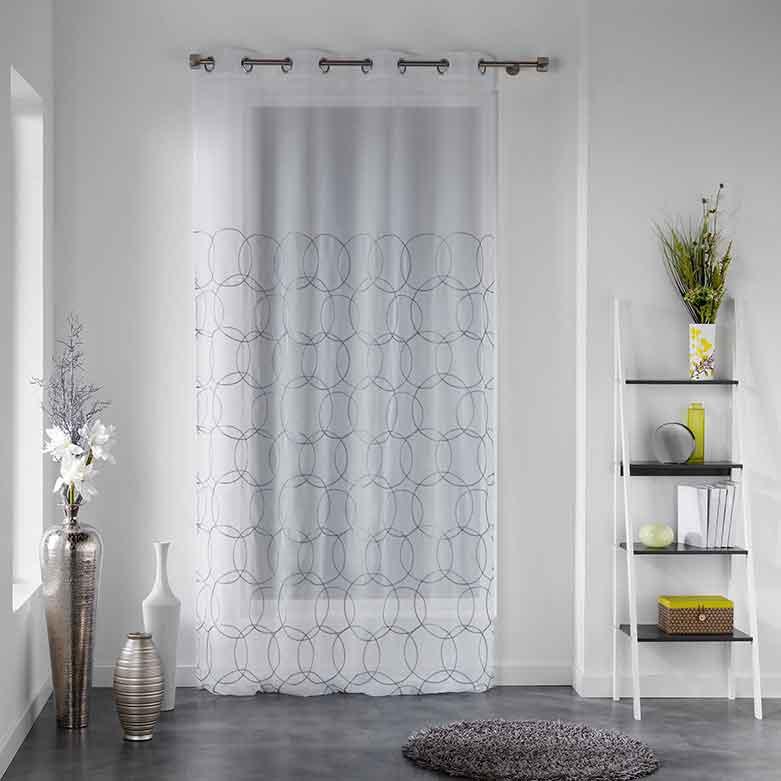 voilage imprim cercles blanc homemaison vente en. Black Bedroom Furniture Sets. Home Design Ideas