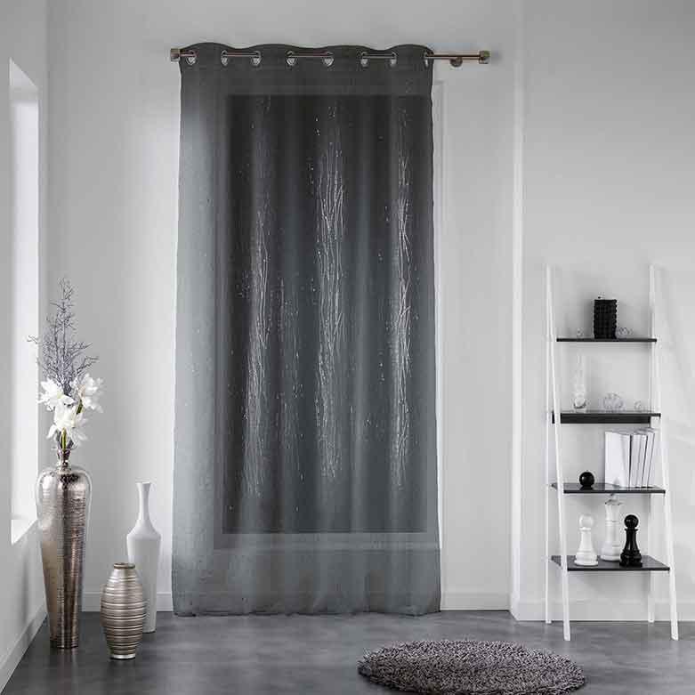 voilage avec motif argent anthracite blanc homemaison vente en ligne voilages. Black Bedroom Furniture Sets. Home Design Ideas