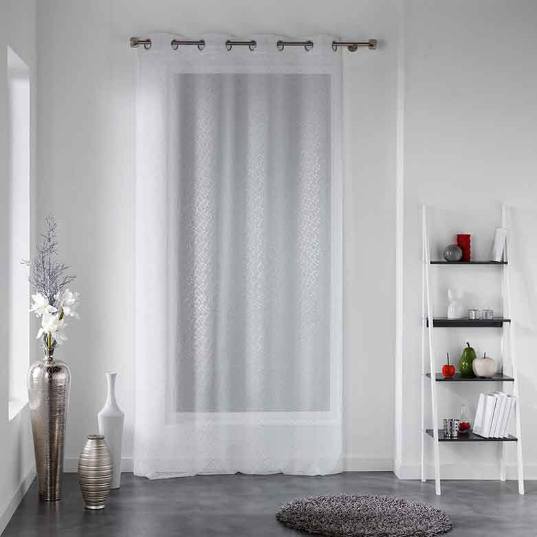 voilage motif constellation blanc anthracite homemaison vente en ligne voilages. Black Bedroom Furniture Sets. Home Design Ideas