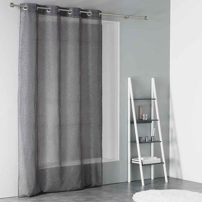 voilage avec motif f erique anthracite blanc homemaison vente en ligne voilages. Black Bedroom Furniture Sets. Home Design Ideas