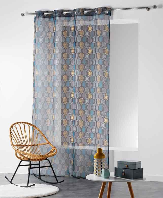 voilage imprim gouttes anthracite blanc. Black Bedroom Furniture Sets. Home Design Ideas