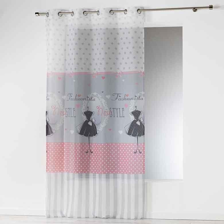 voilage imprim fashionista blanc homemaison vente. Black Bedroom Furniture Sets. Home Design Ideas