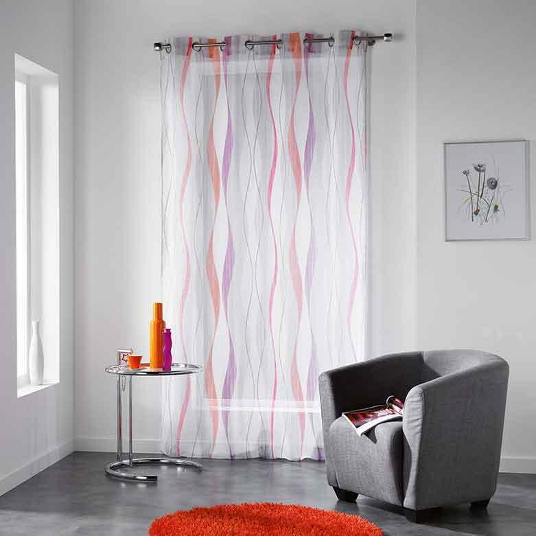 voilage imprim ruban ondul orange bleu naturel. Black Bedroom Furniture Sets. Home Design Ideas