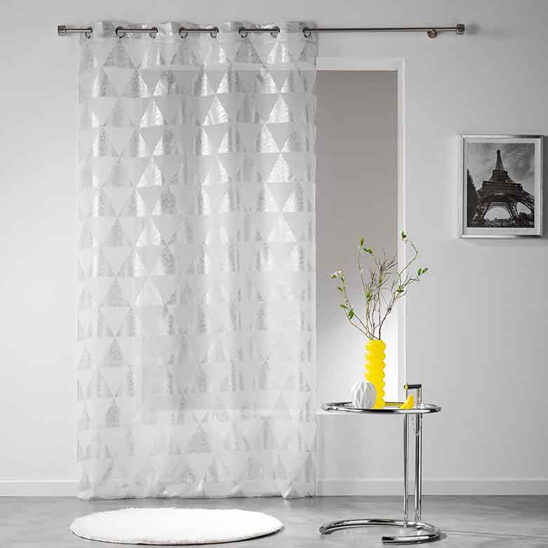 voilage avec imprim triangulaires blanc anthracite. Black Bedroom Furniture Sets. Home Design Ideas