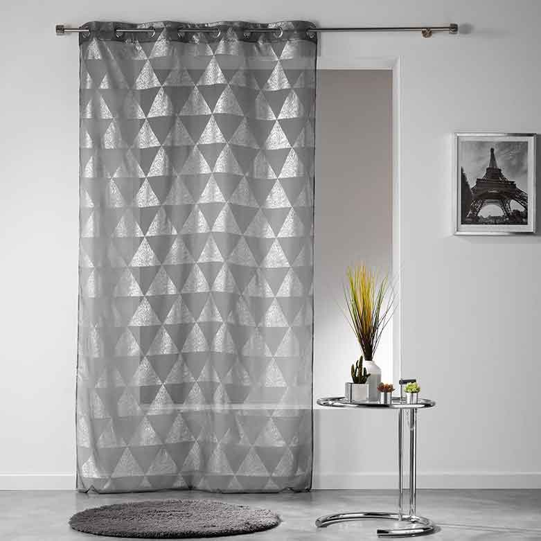 voilage avec imprim triangulaires anthracite blanc gris homemaison vente en ligne. Black Bedroom Furniture Sets. Home Design Ideas