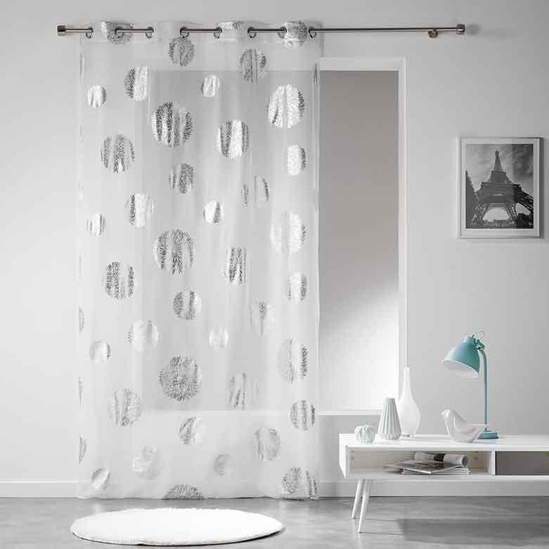 voilage imprim bombes d artifice gris blanc. Black Bedroom Furniture Sets. Home Design Ideas
