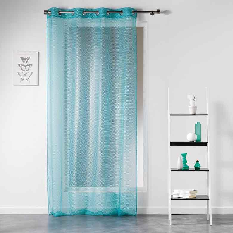 voilage avec motif g om trique menthe indigo corail gris jaune anthracite. Black Bedroom Furniture Sets. Home Design Ideas