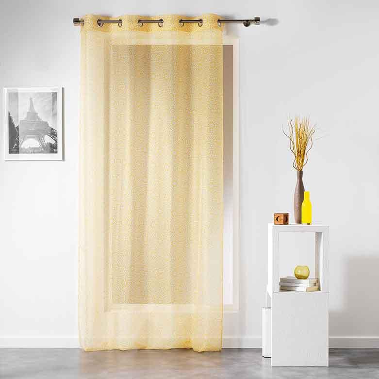 voilage avec motif g om trique fleurs jaune indigo corail menthe gris. Black Bedroom Furniture Sets. Home Design Ideas