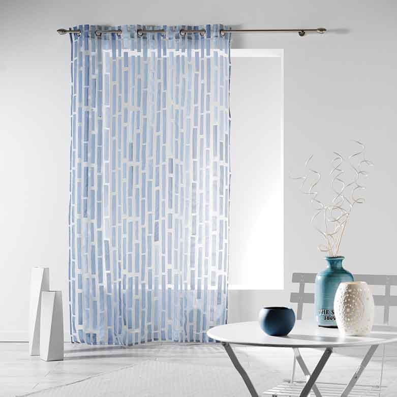 Voilage avec Impression de Briques - Bleu - 140 x 240 cm