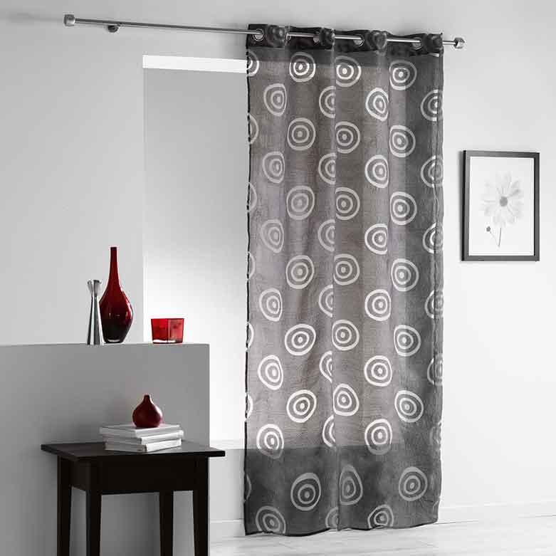 voilage avec motif aborig ne anthracite blanc bleu gris homemaison vente en. Black Bedroom Furniture Sets. Home Design Ideas