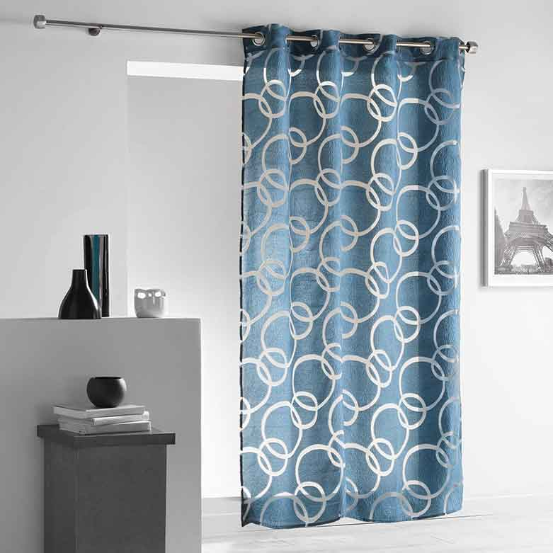 voilage avec motifs cercles entrelac s bleu gris naturel anthracite homemaison. Black Bedroom Furniture Sets. Home Design Ideas