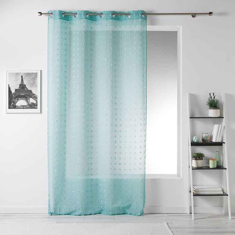 voilage petits pompons menthe blanc bleu lin gris homemaison vente en ligne. Black Bedroom Furniture Sets. Home Design Ideas
