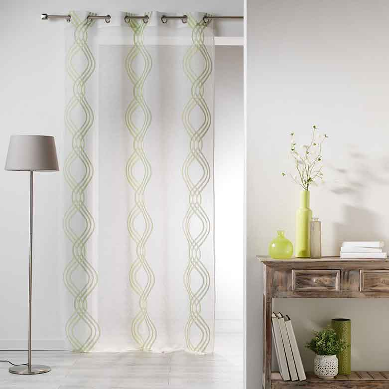 voilage avec motif de rayures entrelac es vert choco bleu naturel homemaison. Black Bedroom Furniture Sets. Home Design Ideas