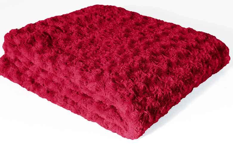 Plaid Imitation Fourrure (Rouge)