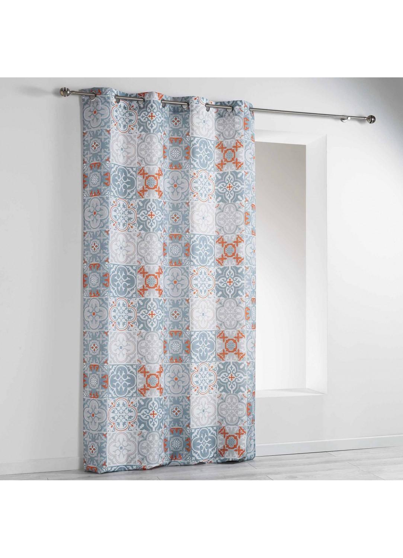 rideau inspiration azulejos orange homemaison vente en ligne rideaux. Black Bedroom Furniture Sets. Home Design Ideas
