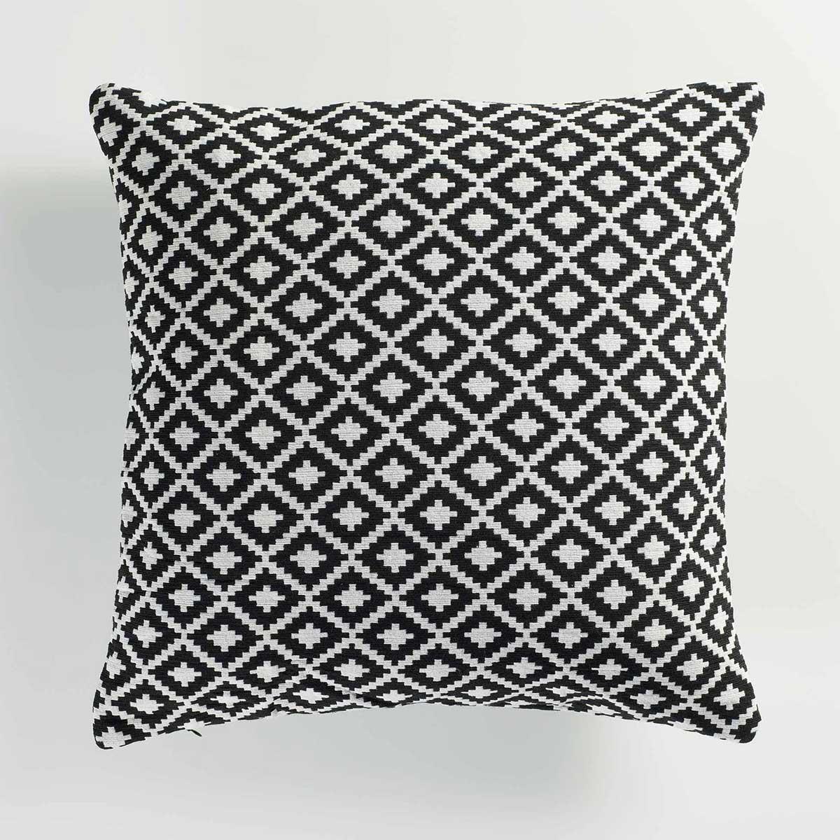 Coussin Déhoussable en Jacquard Black & White - Noir / Blanc - 40 x 40cm