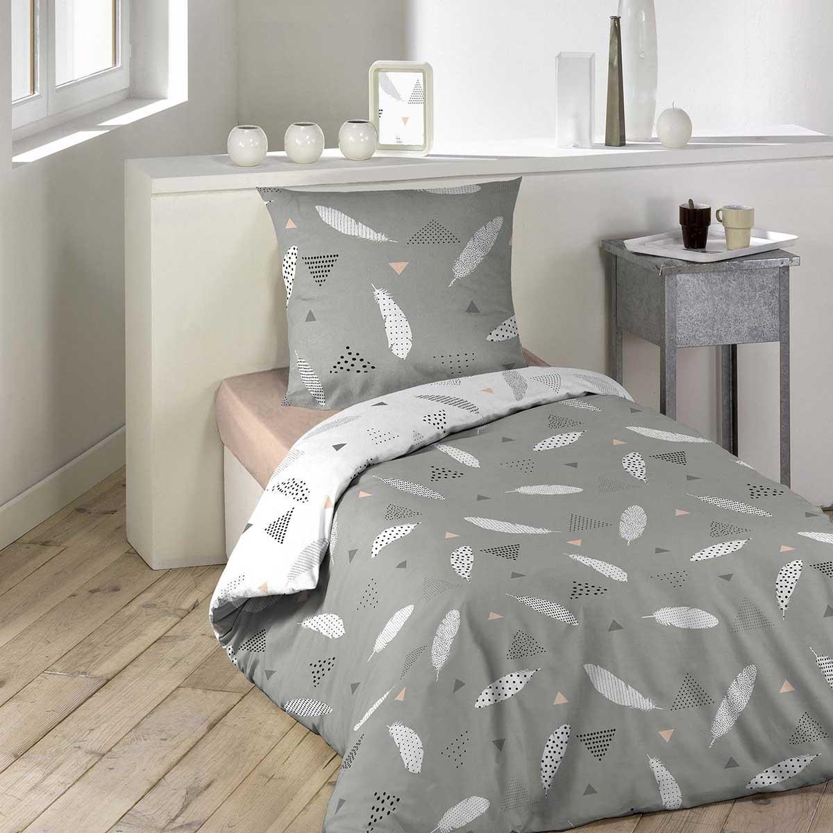parure de lit plumette gris homemaison vente en. Black Bedroom Furniture Sets. Home Design Ideas