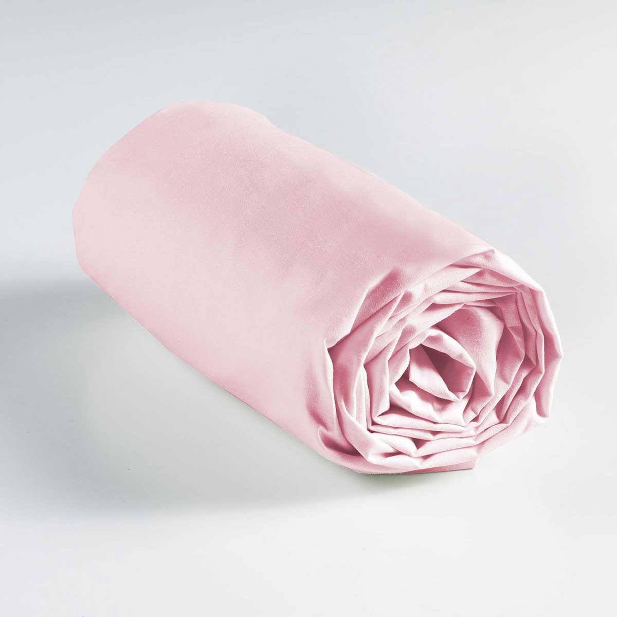 Drap Housse Coton Uni en 57 Fils - Rose Clair - 160 x 200 cm