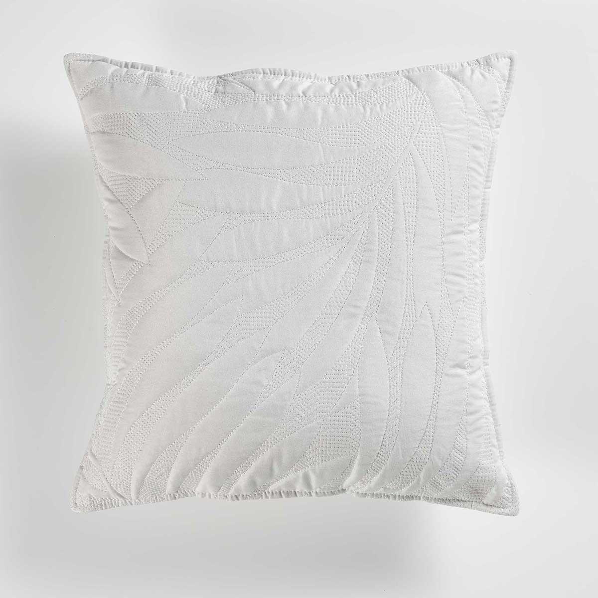 Housse de Coussin Matelassée Unie en Microfibre (Blanc)