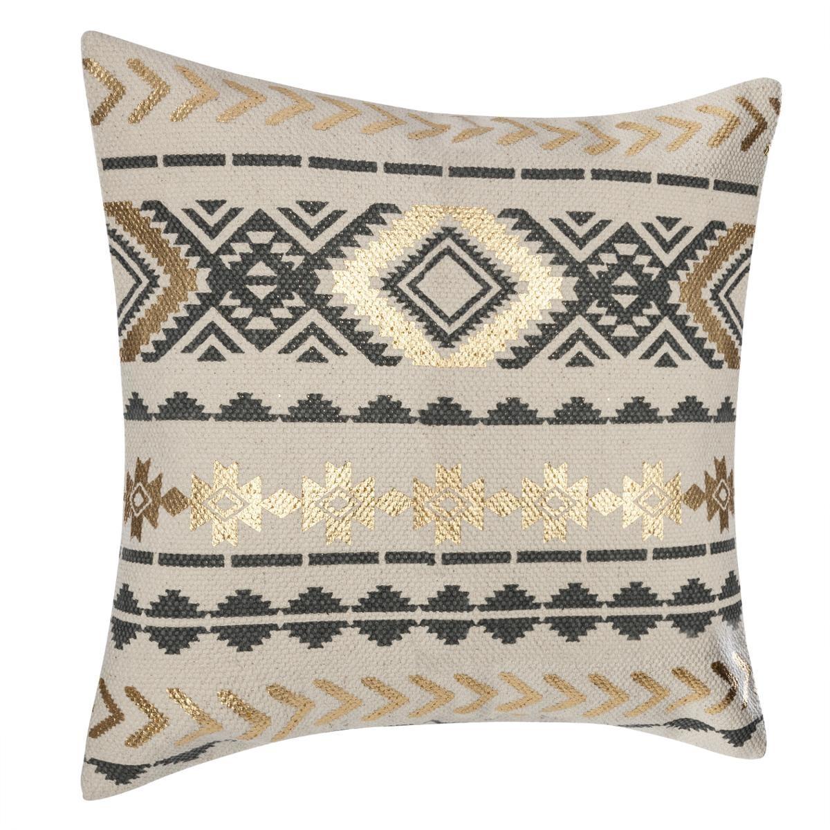 housse de coussin ethnique et or gris beige homemaison vente en ligne housses de. Black Bedroom Furniture Sets. Home Design Ideas