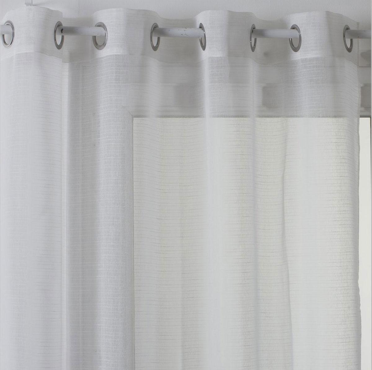 Voilage Aérien à fines Rayures Horizontales - Blanc - 140 x 240 cm