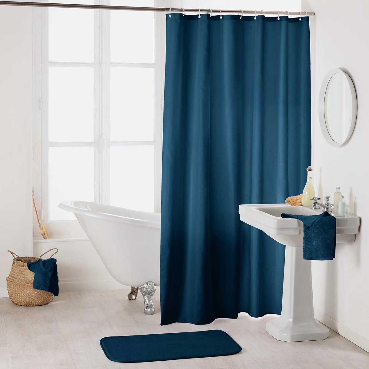 Rideau de Douche Uni et Colorée (Bleu Nuit)
