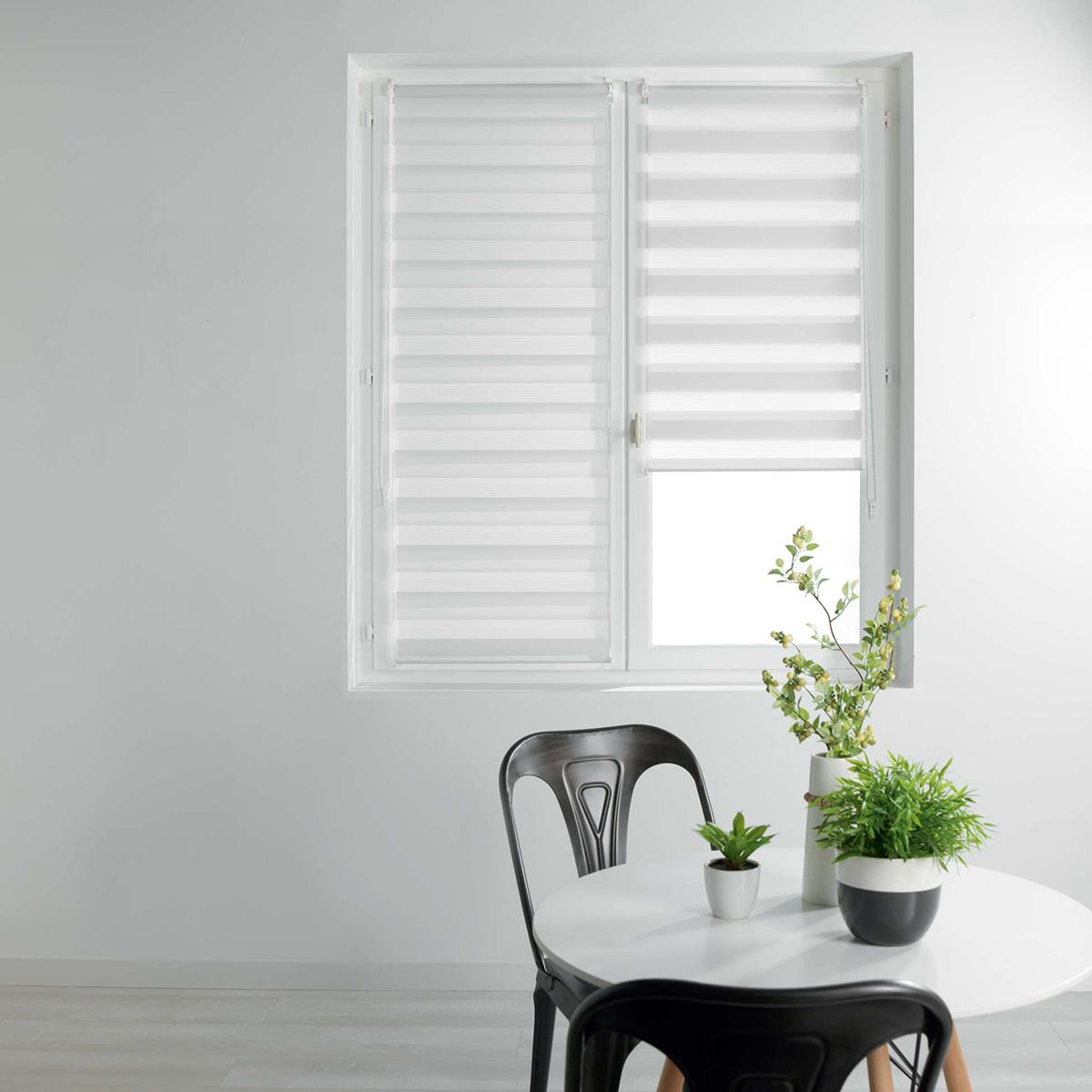 store enrouleur jour nuit uni et color blanc noir. Black Bedroom Furniture Sets. Home Design Ideas