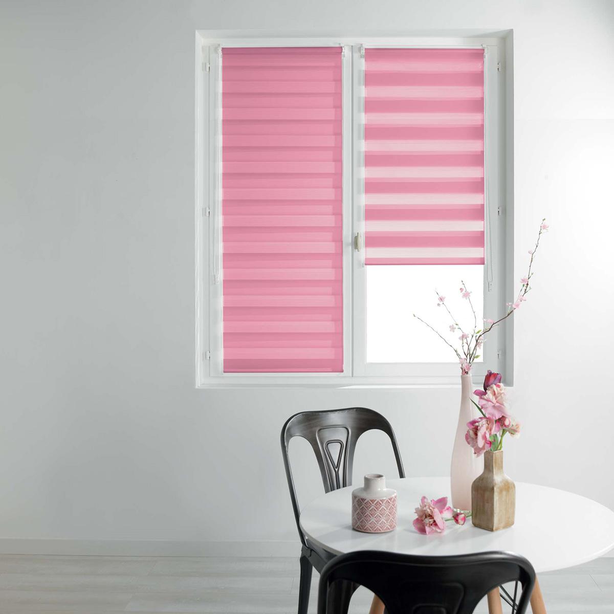 Store Enrouleur Jour/ Nuit Uni et Coloré - Rose - 60 x 90cm