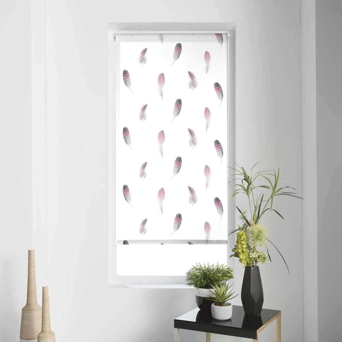 Store Enrouleur Tamisant Imprimé Plumettes - Multicouleur - 120 x 180 cm