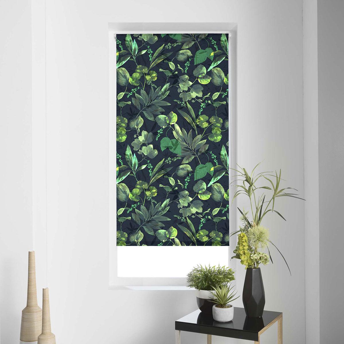 Store Enrouleur Tamisant Impression Forêt - Multicouleur - 90 x 180 cm