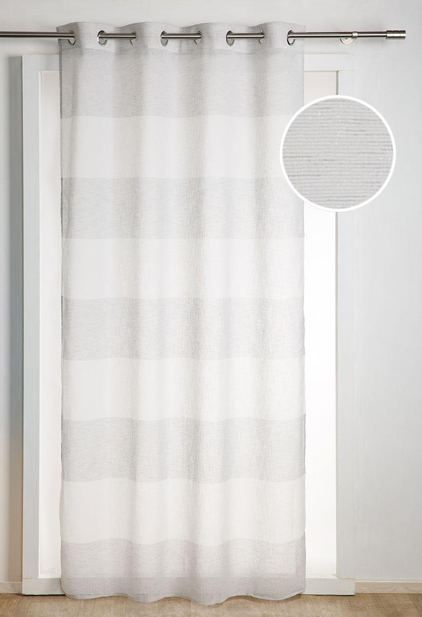 Voilage Fantaisie à Rayures Pailletées - Gris - 140 x 260 cm