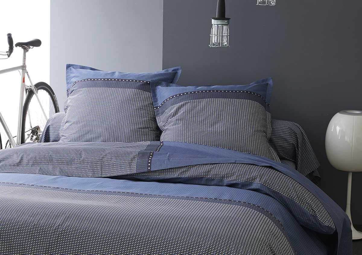 Taie de Traversin en Satin de Coton - Bleu Gris - 86 x 200 cm